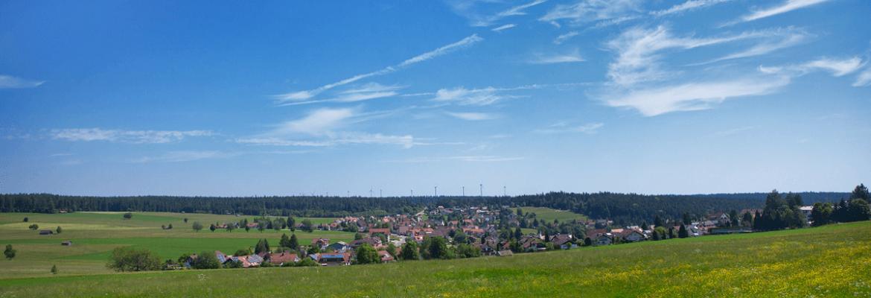 Landschaft mit Stadt im Hintergrund zur Sommerzeit - Hotel Konradshof